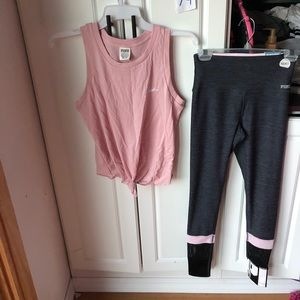 NWT Victoria Secret pink XS tank&ultimate set mesh